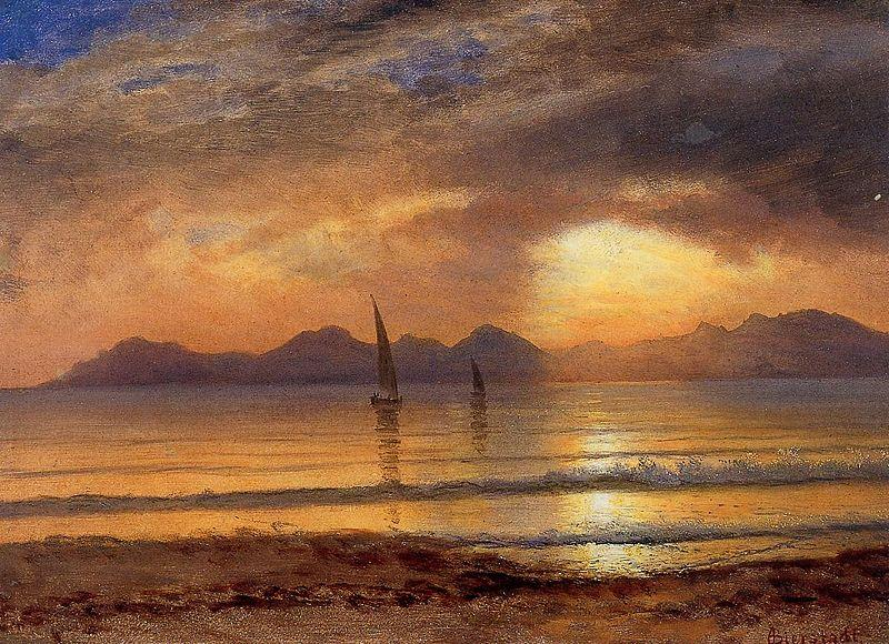 Albert Bierstadt Sunset over a Mountain Lake